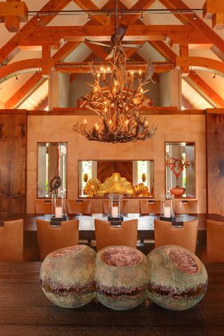 美式乡村风格客厅经济型140平米以上厨房餐厅一体装修