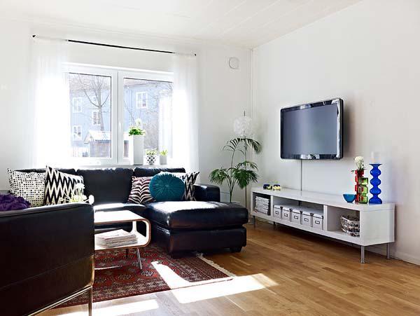 北欧风格舒适客厅壁纸旧房改造家装图片