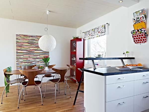 北欧风格舒适厨房吧台壁纸旧房改造家装图片
