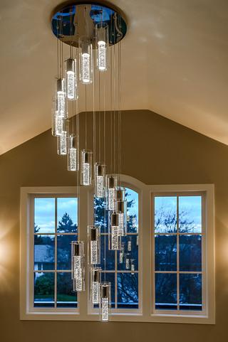 混搭风格客厅一层半别墅稳重咖啡色家装灯具效果图