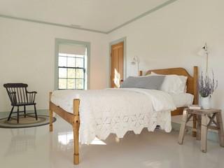 现代田园风格三层双拼别墅梦幻家具米黄色调墙壁4平米卧室装修图片