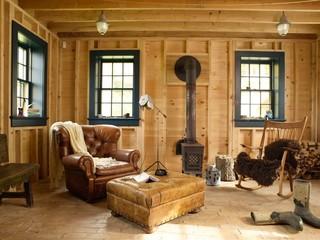 田园风格家具一层半小别墅梦幻米黄色调墙壁小客厅沙发设计图纸
