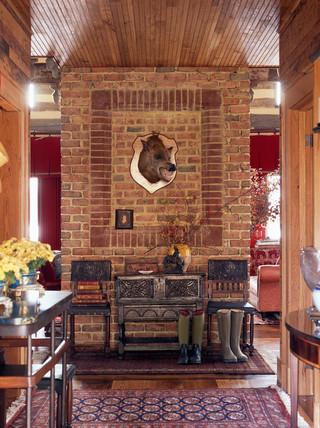房间欧式风格三层别墅及古典装饰咖啡色客厅玄关隔断装修图片