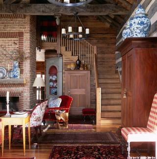 现代欧式风格2层别墅中式古典咖啡色家庭楼梯装修效果图