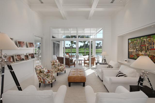 现代欧式风格一层别墅及唯美白色客厅效果图高清图片