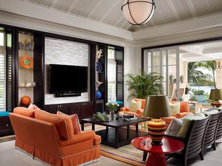 美式风格一层别墅及梦幻白色门2012客厅装修图片