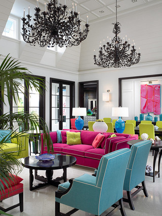 美式风格客厅三层双拼别墅梦幻白色家具装修图片