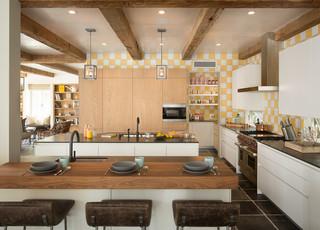 房间欧式风格三层平顶别墅豪华别墅原木色家居设计图
