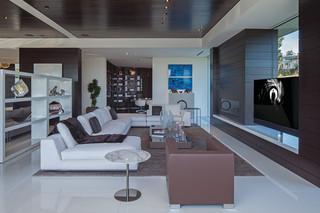 现代简约风格客厅三层半别墅艺术白色家居效果图
