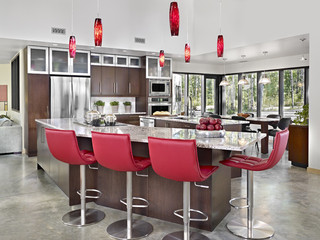 简约风格电视背景墙客厅简洁红色橱柜2014整体厨房设计