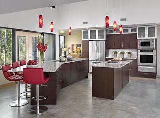 现代简约风格红色橱柜4平米小厨房室内客厅隔断效果图