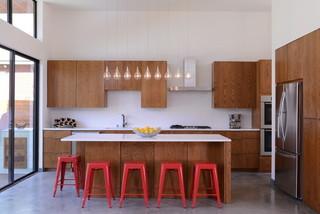 现代简约风格餐厅客厅简洁冷色调开放式厨房吧台效果图