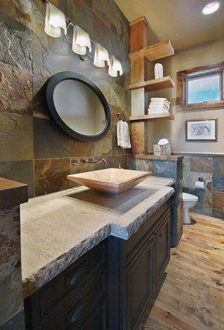 混搭风格客厅三层独栋别墅艺术洗手台图片