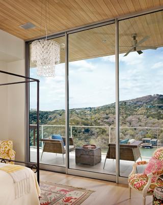 现代loft风格浪漫卧室无框阳台装修效果图