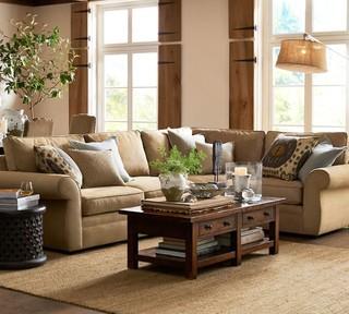 日式风格三层平顶别墅卧室温馨暖色调转角沙发图片
