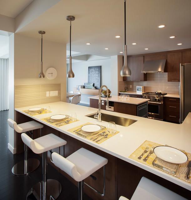 现代简约风格一层别墅及唯美白色地毯四人餐桌效果图