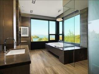 现代简约风格厨房三层独栋别墅稳重咖啡色主卫改衣帽间装修效果图