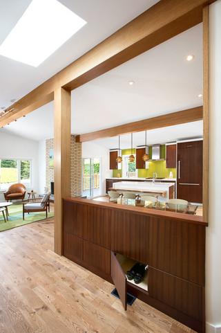 现代简约风格3层别墅舒适咖啡色屏风鞋柜效果图