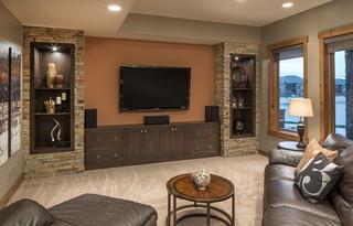 美式乡村风格客厅三层连体别墅唯美原木色室内电视背景墙装修效果图