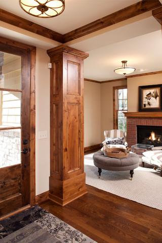 美式风格卧室三层双拼别墅舒适原木色客厅隔断装修图片