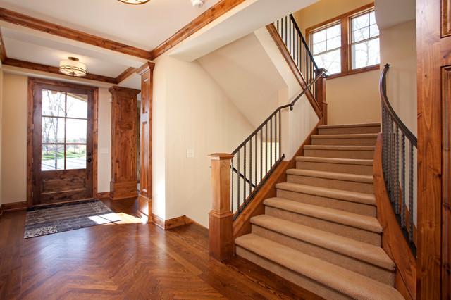 现代美式风格一层半小别墅舒适原木色室内楼梯设计图效果图