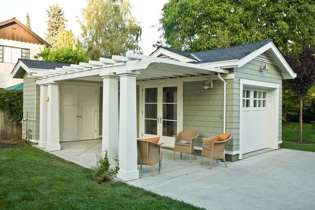欧式风格三层独栋别墅温馨装饰绿色橱柜露台花园设计