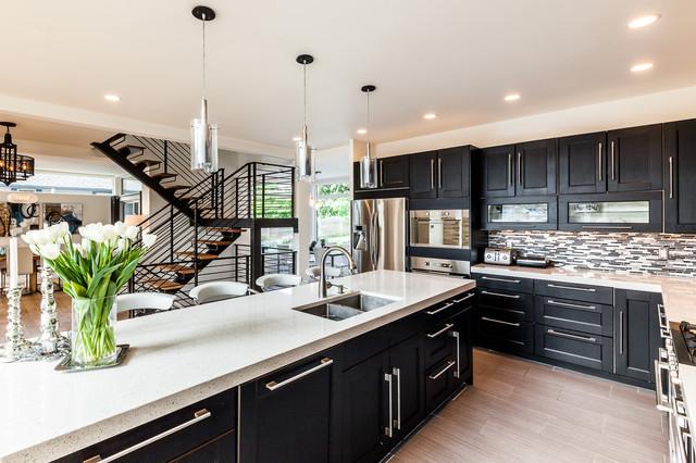 loft风格客厅白领公寓时尚简约客厅开放式厨房吧台装修效果图