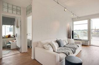 北欧风格二居室简洁白色客厅过道设计图