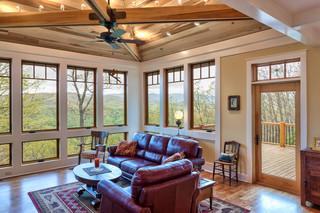 美式乡村风格客厅富裕型140平米以上真皮沙发效果图