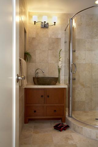 简约中式风格度假别墅富裕型140平米以上洗手台效果图
