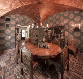 地中海风格家具三层连体别墅富裕型140平米以上餐桌图片