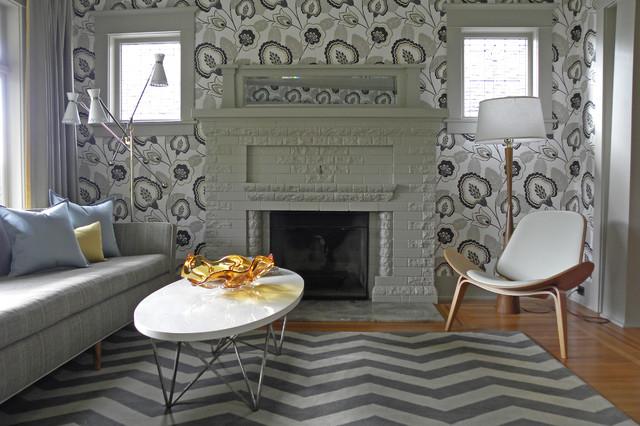 混搭风格富裕型140平米以上砖砌真火壁炉设计图效果图