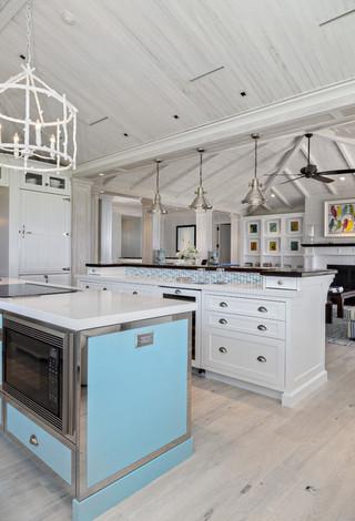 地中海风格经济型140平米以上开放式厨房餐厅改造