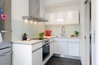 北欧风格时尚黑白90平米整体厨房设计图