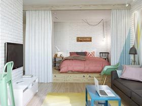 俄罗斯40平米粉色收纳小公寓