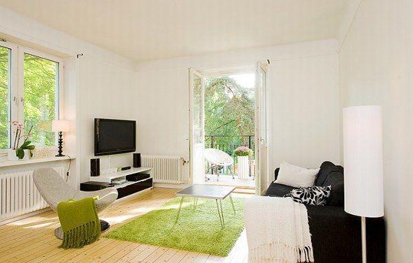 北欧风格简洁白色地毯图片