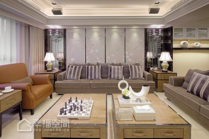 新古典风格别墅小清新沙发背景墙效果图
