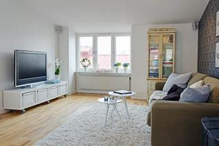 北欧风格小户型简洁白色90平米电视背景墙设计图