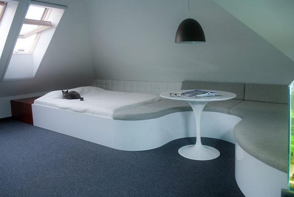 简欧风格复式稳重绿色转角沙发效果图