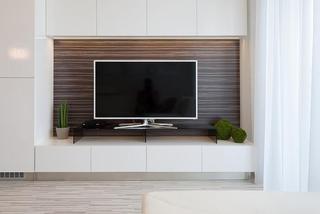 现代简约风格舒适白色电视背景墙设计图