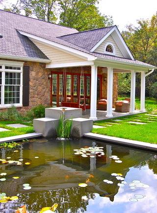 现代简约风格独栋房庭院 锦鲤鱼池添生趣