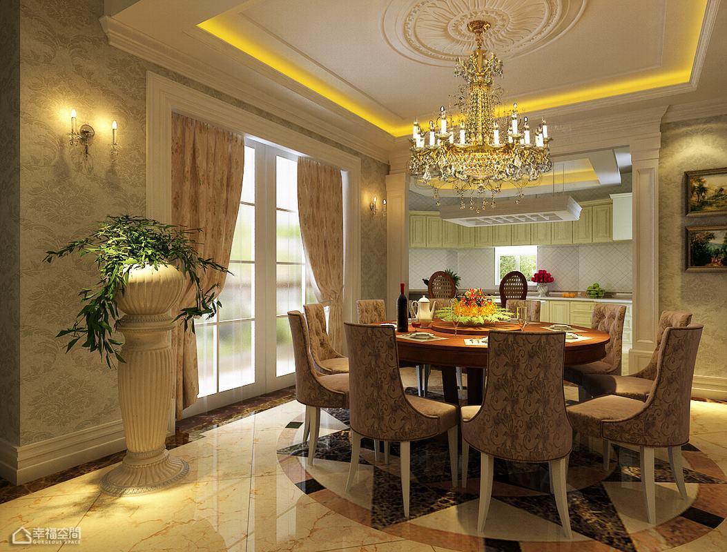 欧式风格别墅豪华餐厅装修图片