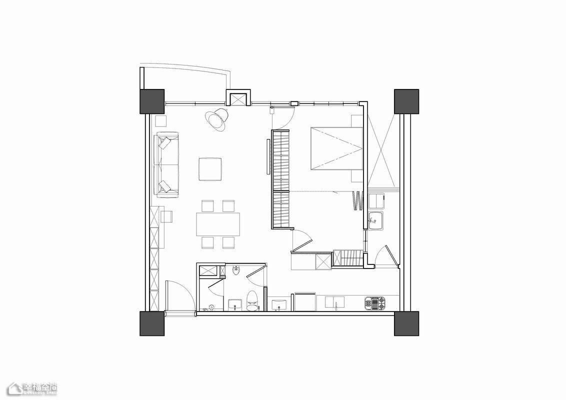 loft风格小户型简洁效果图