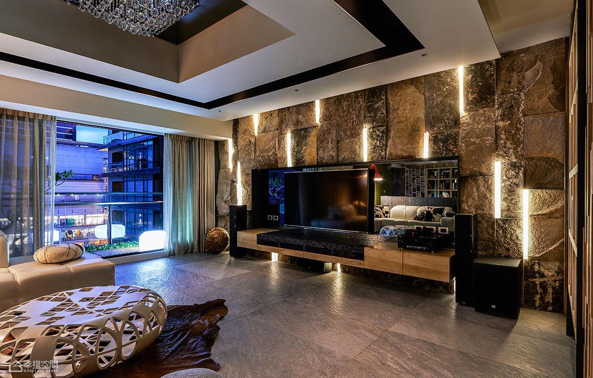 现代简约风格别墅时尚电视背景墙设计图纸