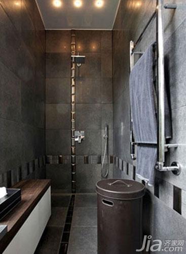 洗手间装修效果图   融 合黑色、灰色、棕色,好一款酷酷的高清图片