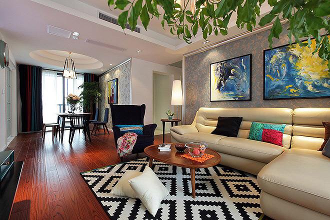 田园风格温馨120平米沙发背景墙设计图
