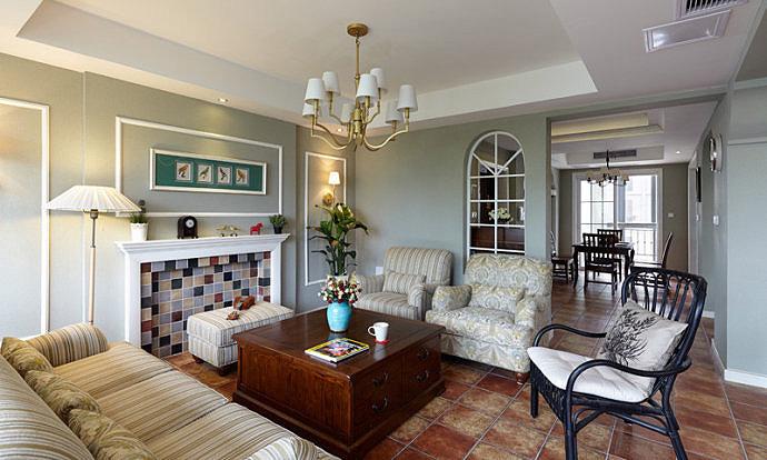 美式风格复式温馨客厅装修效果图高清图片