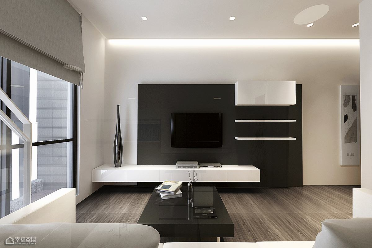 简约风格挑高户型简洁电视背景墙设计图