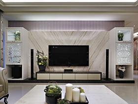 豪华大理石铺设 21款现代电视背景墙