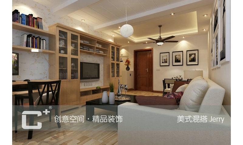 60平一房现代简约混搭美式6万单身公寓jerry装修案例效果图-齐家装修图片